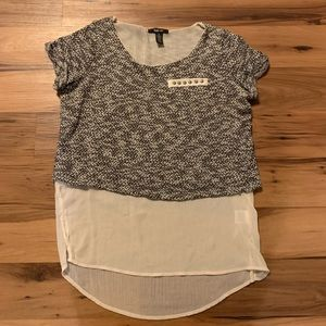 Style co- high low blouse-size m- cream and black